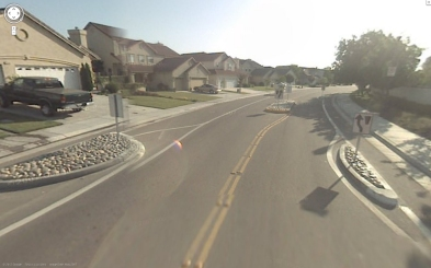 Traffic calming chicanes on Iron Canyon Circle in Spanos East.