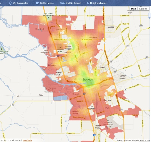 Stockton's Walk Score map, with green indicating more walkable communities