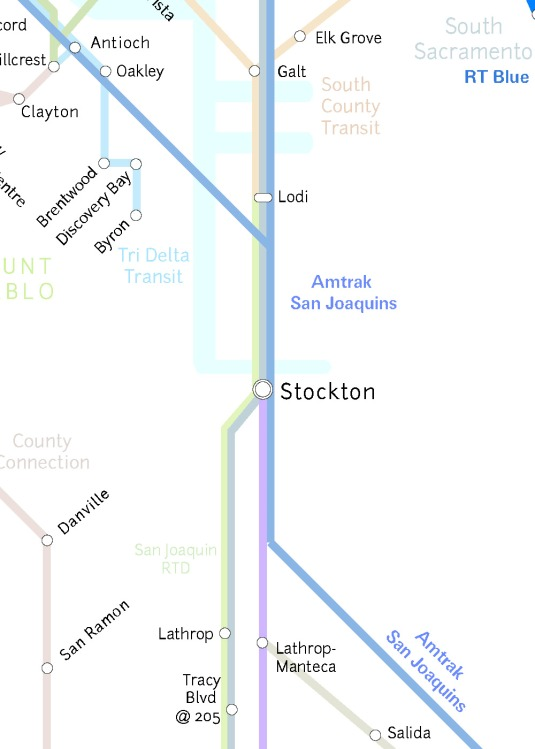 Pink= ACE TrainBlue= Amtrak rail Gray= Amtrak busGreen= SJRTD commuter route