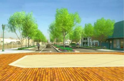 The same stretch of Miner Avenue as envisioned in the Miner Avenue Streetscape Master Plan