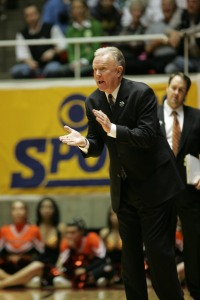 Pacific Head Coach Bob Thomason coaches his final game at the Spanos Center Saturday night