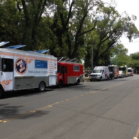 Now that Fremont Square has been liberated from gangs, the park is more welcoming to regular citizens, as illustrated by this food truck even held last Friday. (Photo c/o The Tuleburg Group)
