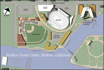 The original site plan for the Stockton Events Center. Retail areas were originally part of the plan, including more surface parking.