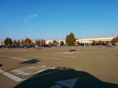 The Park West Place parking lot on the Sunday before Christmas