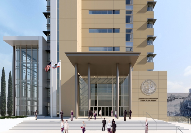 Courthouse entrance opening up to Weber Ave. (c/o NBBJ)