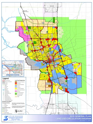Stockton's 2035 General Plan land use map approved in 2007 (click for higher resolution)