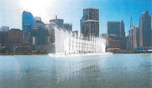 Artist rendering of Google Barge docked in San Francisco (By and Large, LLC)