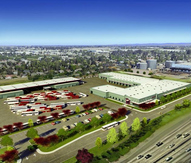 An artist's rendering shows the future 10-acre San Joaquin Regional Transit District's Rapid Transit Center off Filbert Street. (c/o SJRTD)