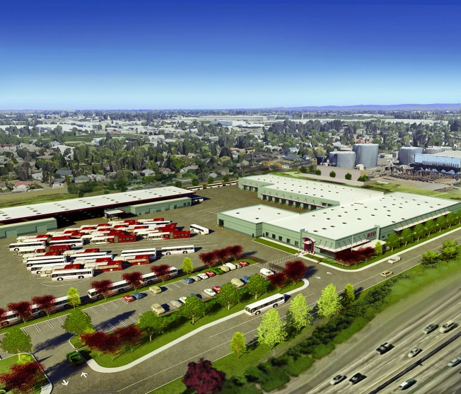 An artist's rendering shows the future 10-acre San Joaquin Regional Transit District's Rapid Transit Center off Filbert Street. (c/o SJRTD)