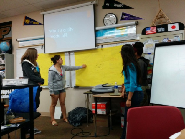 Student's at Venture Academy present their ideal community.