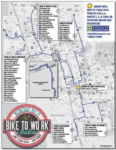 In Stockton, participants have several locations to choose from to start their commute with a team leader from the San Joaquin Bike Coaltion (click for larger view)