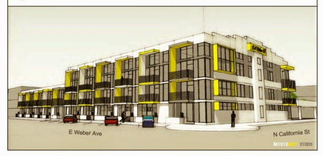 Rendering of the Cal Weber 40 project on the corner of Weber and California Streets in Downtown Stockton (c/o ArtifexWest)