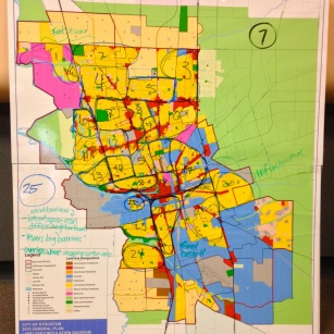 Attendees at last week's Planning Commission meeting participated in an exercise to identify various Stockton neighborhoods (c/o City of Stockton)