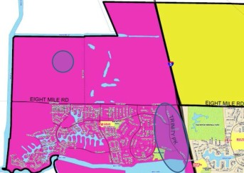 In the latest General Plan Neighborhood map, it appears as if the city is accommodating growth north of Eight Mile Road