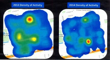 "This chart shows the ""hot sports"" for criminal activity in Downtown Stockton (c/o Stockton Police Department)"