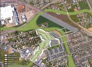 Proposed master plan of CSU Stockton along MLK Drive and Highway 99. Credit: GUDP