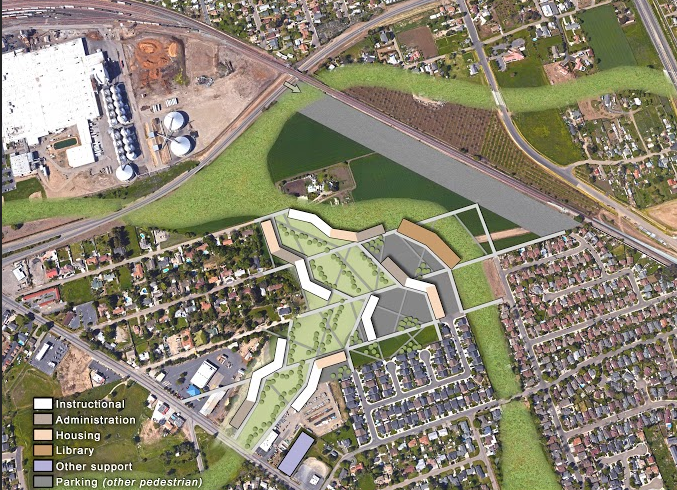 Proposed master plan of CSU Stockton along MLK Drive and Highway 99. Credit: GUDP