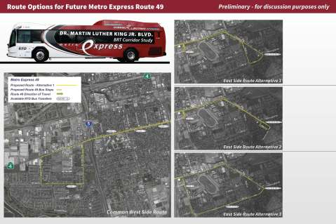 RTD is weighing three route alternatives for Metro Express 49 (c/o SJRTD)