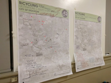Participants at the city's bike master plan update workshop identify areas of need for cyclists